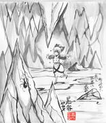 30分水墨画 黒谷ヤマメ