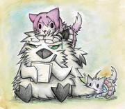 グアガム提督に絡む鬼怒猫と酒匂猫