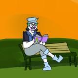 公園で読書するキュルル