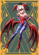 ハロウィンでカプコンヴァンパイアシリーズ・リリスの仮装をするアドちゃん
