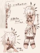 褐色白髪メカクレギザ歯黒白目な部族の子