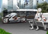 バイクと少女とソフトクリーム