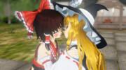 【MMD】霊夢と魔理沙のポッキーゲーム【レイマリ】