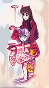 日本鬼子と小日本「竹トンボ」 (自動着色・PaintsChainer)
