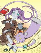 エニラちゃんと猫、ぐるぐる