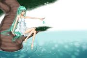 水面と緑とアンドロイド