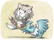大和猫を咥えるウッウ