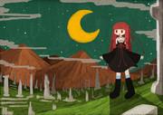 夜の遺跡と茜ちゃん
