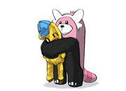 onちゃんを温かく抱擁するキテルグマ