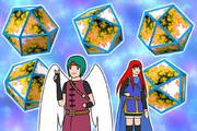 フラクタルの立方八面体、天使勇者、少女