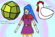 タニシ (凧形二十四面体、ニワトリ、少女)