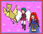 キツネ鳥、天使勇者、少女