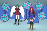 二重三角十二・十二面体、天使勇者、少女