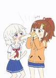 メイちゃんが食べるシュークリームの反対側から飛び出たクリームを食べるタマちゃん
