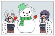 雪だるまを作って遊ぶ暁響