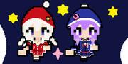赤い白サンタと青い紫サンタ