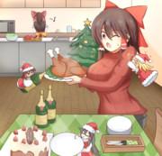 クリスマスパーティの準備の手伝いをするサケノミ達