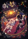 クリスマスの黒猫と白猫
