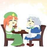 お茶をしたりお話したりしてのんびり過ごす咲夜さんと美鈴