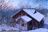 冬のとあるペンション村のログハウス ペンションほおずき