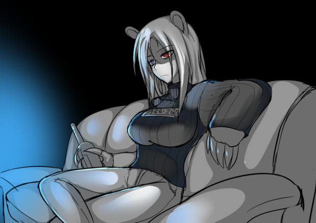タートルネックの巨乳が胸にリモコン乗せてる絵(イワンちゃん)