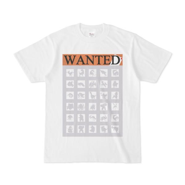 シンプルデザインTシャツ WANTED MONSTER(SILVER)
