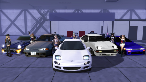 【MMD艦これ】島風さんFD3S〈カスタム後〉納車ガレージにて記念撮影