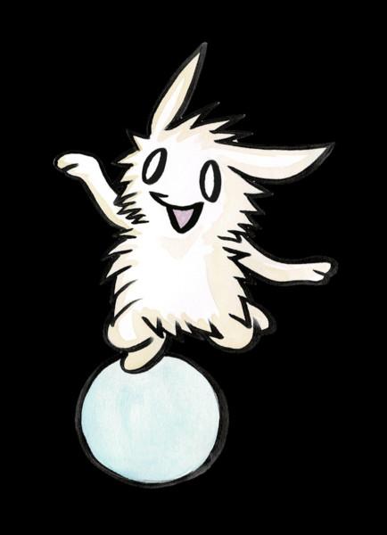 玉乗りするウサギ
