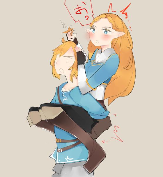 おんぶされるときにお尻をガッツリ掴まれてびっくりして変な声をあげてリンクの髪の毛を掴むゼルダ姫