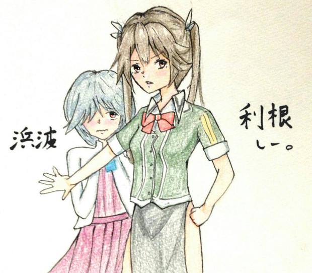 利根さん&浜波さんとお絵描き練習