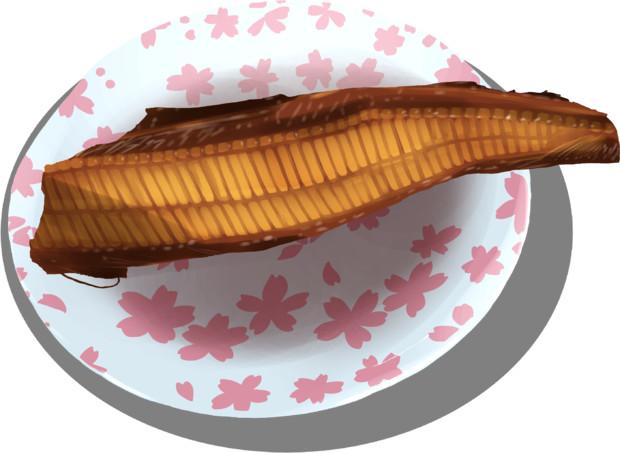【油絵】お母さんが焼いてくれた温かい焼き魚