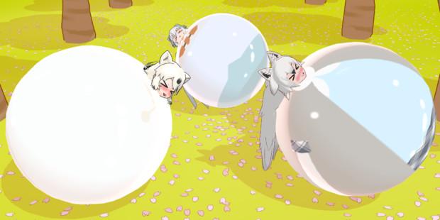 桜の下で転がりごっこ