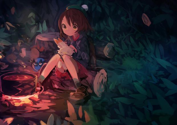 冒険初夜の森、ポケモンたちとユウリ
