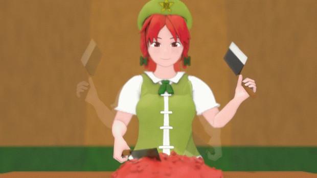 包丁でひき肉にする美鈴