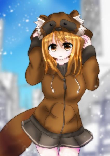 狸パーカーを着た狸さん