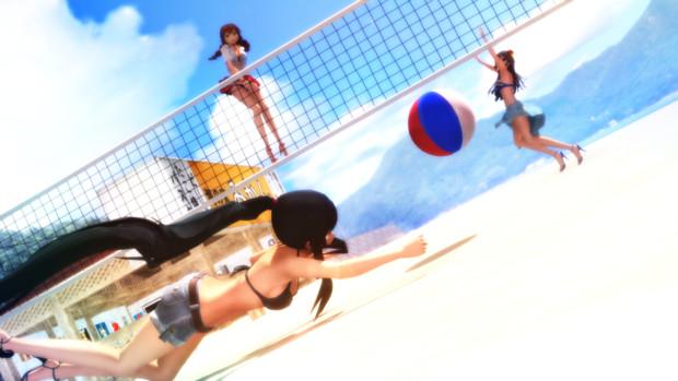 休日のビーチバレー