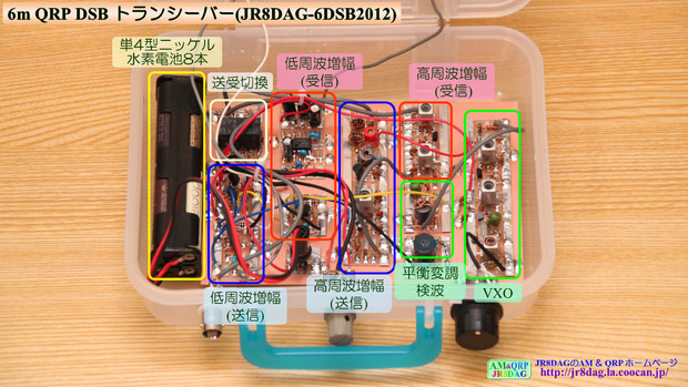6m QRP DSB トランシーバー(JR8DAG-6DSB2012)内部の様子
