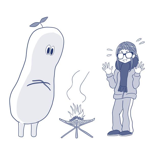 校庭で焚火をする生徒を注意する先生
