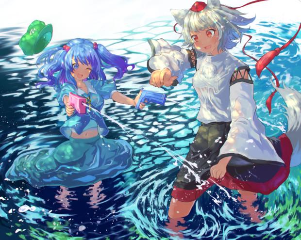河童と天狗の水浴び