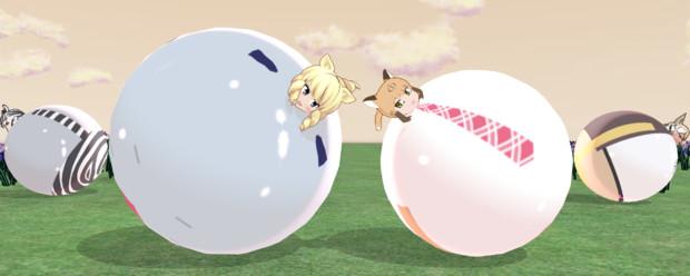 菖蒲園で転がりごっこ