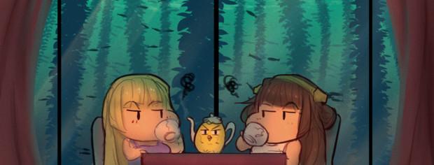 海の下でお茶を飲む
