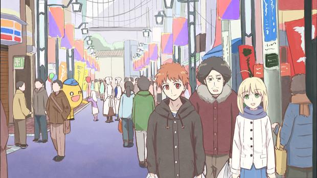 セイバーや士郎と一緒に夕飯の買い出しに出かける大泉洋