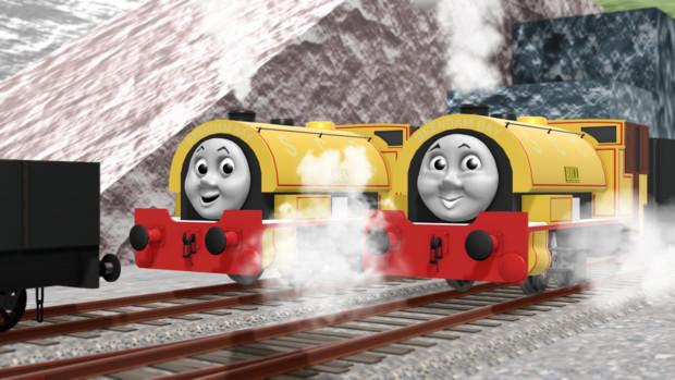 石切り場で働くいたずら好きな双子の機関車
