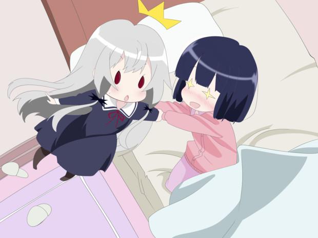 ベッドに引きずり込まれるソフィーちゃん