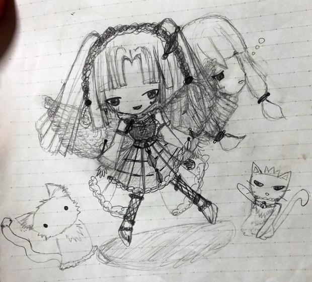 またまたエニラちゃん描いてみた!猫と黒猫もいるよ!