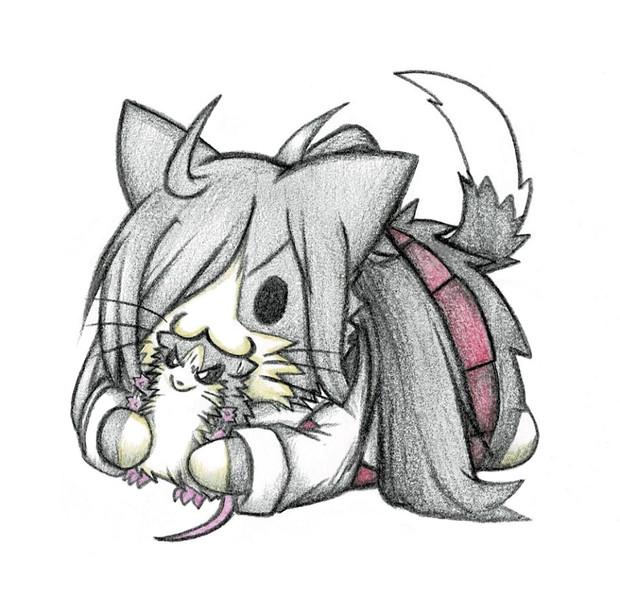 ネズミ提督で遊ぶ朝霜猫