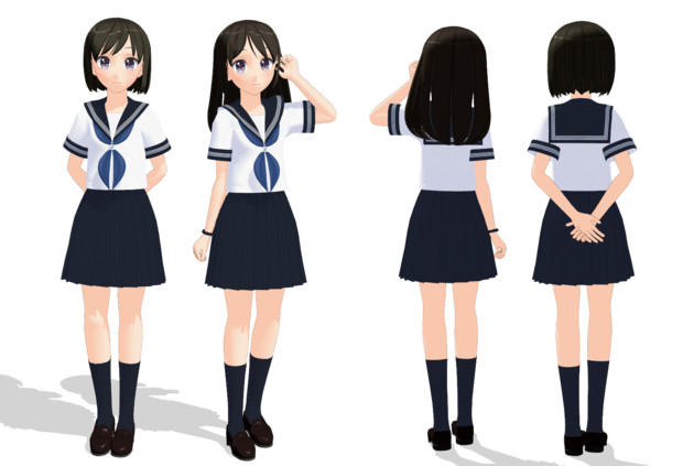 【MMDモデル配布】もぶっぽい子B /もぶっぽい子(夏制服ver)