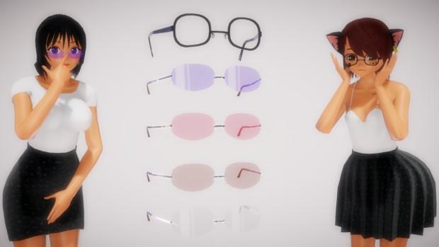 【MMDアクセサリ配布】縁なしメガネと黒ぶちメガネ