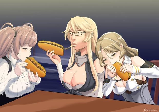 夜食にチーズステーキでS勝利するアメリカ艦