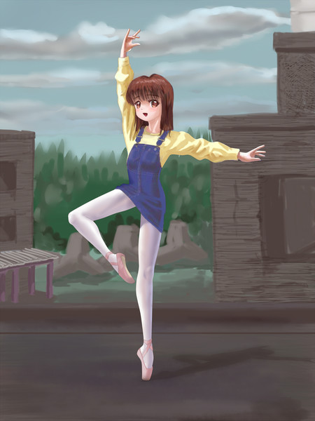 ミニオーバーオールを着て踊るバレエ少女